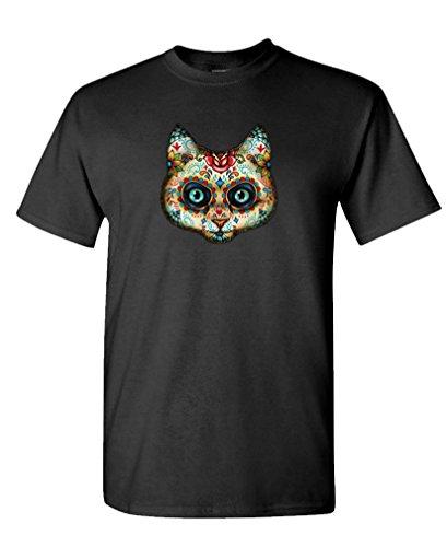CAT DAY OF THE DEAD - sugar skull dia muertos Tee Shirt T-Shirt, XL, Black (Sugar Skull Cat)