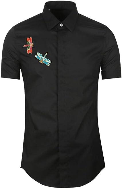 WQDS Camisa de Manga Corta, Camisa Salvaje Bordada a Mano ...