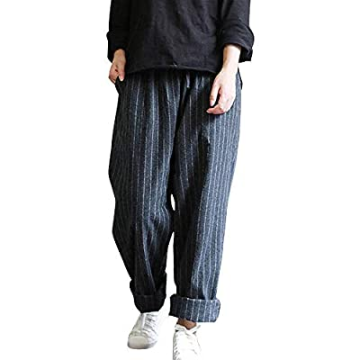 Orangeskycn Women Trousers Pants Loose Long Harem Elastic High Waist