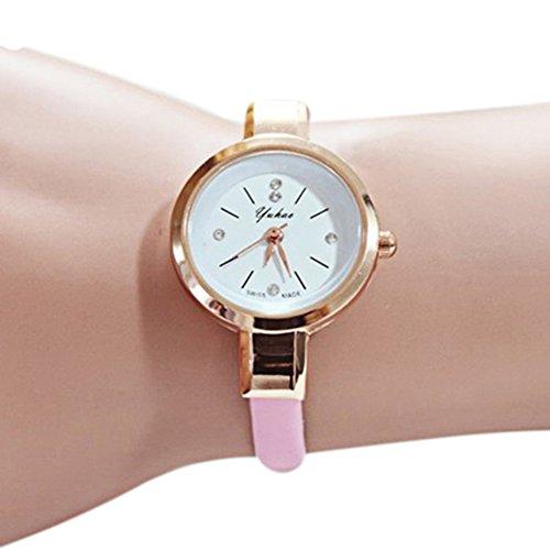 Women Girls Charm Watches Slim Runway Three Hand Unique Face Small Band Fashion Wrist Watch (Pink) Girls Fashion Watch