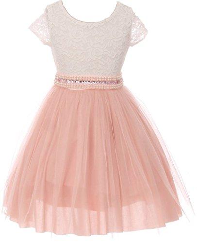 Big Girl Cap Sleeve Lace Top Tulle Pearl Easter Graduation Flower Girl Dress (20JK45S) Blush 10