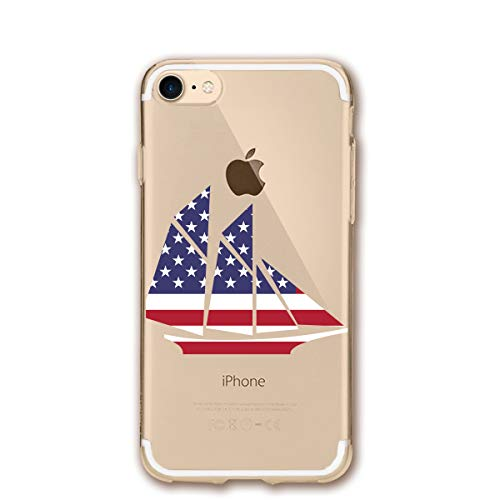 Fashion iPhone 8 Case iPhone 7 Case Sailing Boat Clipart Flag Scratch Proof Shock Absorption Mobile Phone Shell 4.7-inch ()