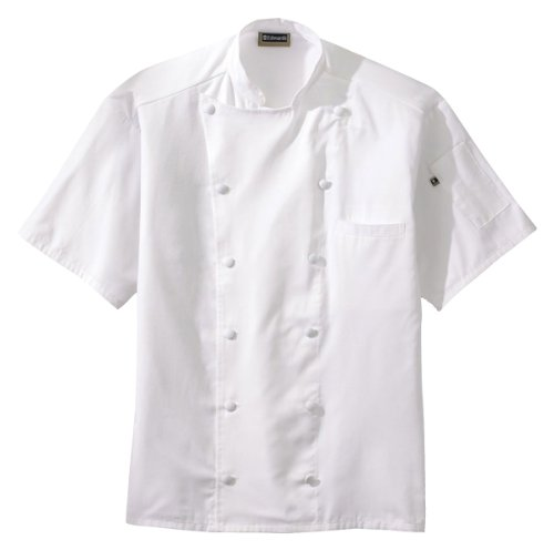 - Edwards Classic Short Sleeves Chef Coat with Back Mesh, White, XL
