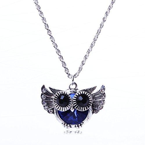 QIYUN.Z (TM) Cute Fat Blue Belly Owl Fashion Punk Rock Style Rhinestone White K Necklace