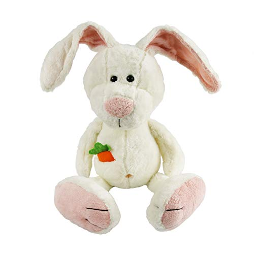 (Houwsbaby Adorable Bunny Stuffed Animal Rabbit with Carrot in Pocket Soft Plush Toys Seasonal Decor Gift for Kids, 12'' (White))