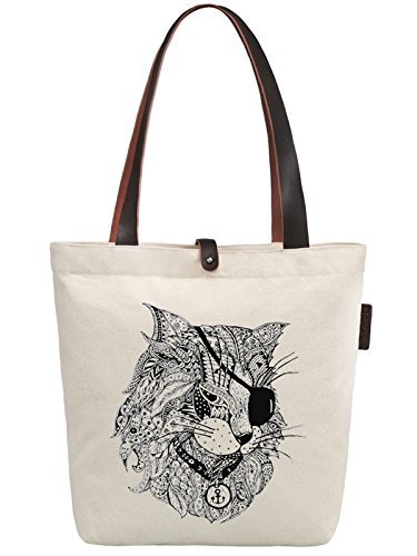 So'each Women's Pirate Cat Geometry Graphic Canvas Handbag Tote Shoulder Bag