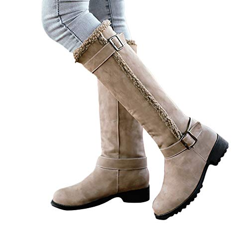 Faionny Women Boots Flat Long Boots Suede Knee High Boots Winter Warm Snow Boots Belt Buckle Shoes Comfortable Plush Boots