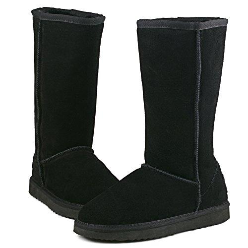 Ausland Kvinna Klassiska Läder Hög Snö Boot Black 2