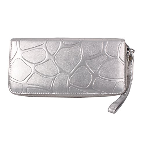 Wallet for Women Fashion Large Capacity Purse Soft PU Leather Lady Zipper Stone Pattern Handbag with Card Slots and Arm Wrist Strap Phone Pouch HuaForCity Luxury Card Holder Case Coins Pouch for 5.5in Silver