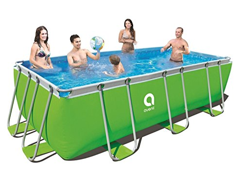By PoolCentral 13' x 6.5' Neon Green Rectangular Steel Frame Above Ground Swimming Pool Set -
