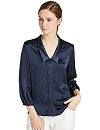 Women's Charmeuse Silk Blouse Deep V Neck Top 22 Momme Soft Work Ladies Shirt
