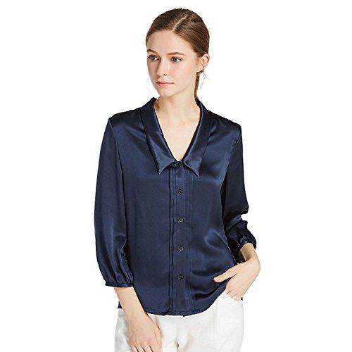 LilySilk Women's Charmeuse Silk Blouse Deep V Neck Top 22 Momme Soft Work Ladies Shirt Navy Blue 12/L