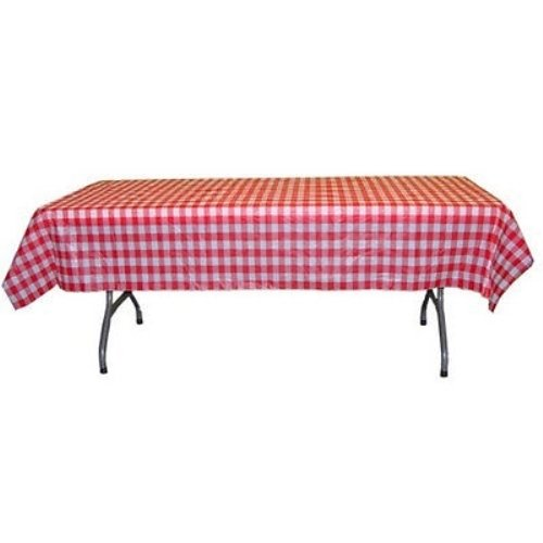 12-Pack Printed Red Gingham Checkerboard plastic table cover -