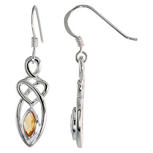 Sterling Silver Celtic Motherhood Knot Earrings Gemstone Dangling Fishhook Flawless Finish 1 1 4 inch