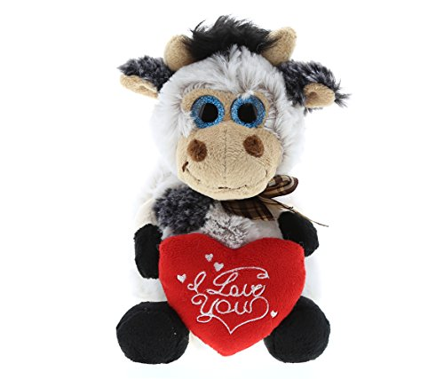 Dollibu Sitting Cow I Love You Valentines Stuffed Animal - Heart Message - 7 inch - Wedding, Anniversary, Date Night, Long Distance, Get Well Gift for Her, Him, Kids - Super Soft Plush