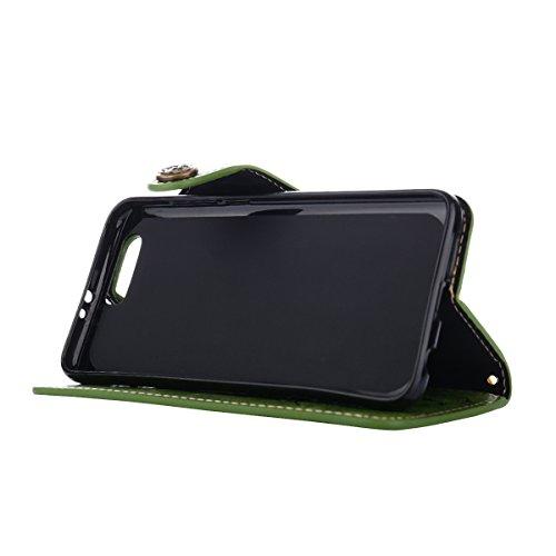 MEIRISHUN Leather Wallet Case Cover Carcasa Funda con Ranura de Tarjeta Cierre Magnético y función de soporte para Huawei Honor 9 - Verde claro Verde