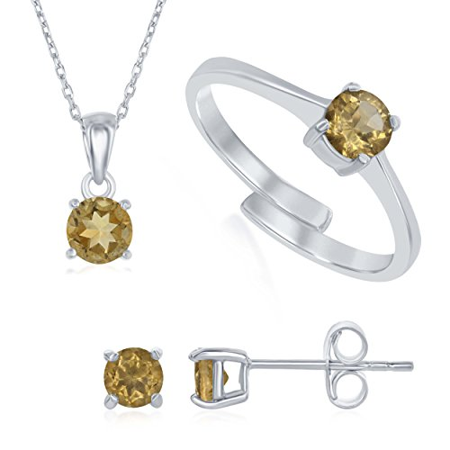 Beaux Bijoux Sterling Silver Citrine 'November' Genuine Birthstone Pendant Necklace, Earrings and Ring Set ()