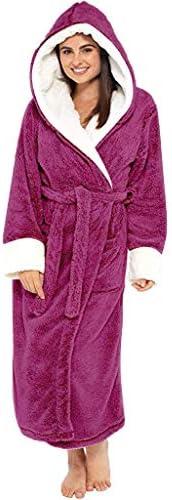 TOTAMALA Plus Size Women Winter Warm Plush Lengthened Shawl Bathrobe Home Clothes Long Sleeved Robe Nightgown(