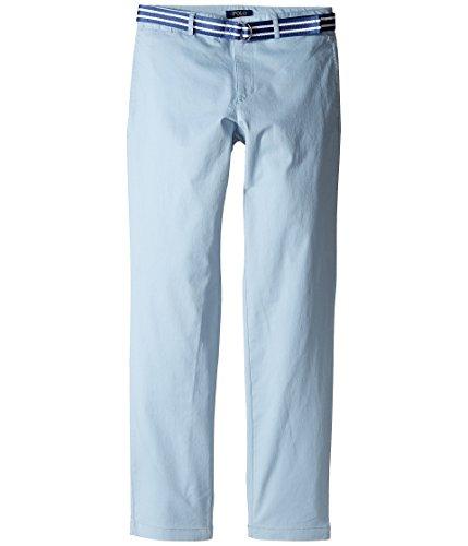 RALPH LAUREN BOYS BELTED STRETCH COTTON CHINO (10 Big Kids, HAMPTON BLUE) (Stretch Cotton Belted)
