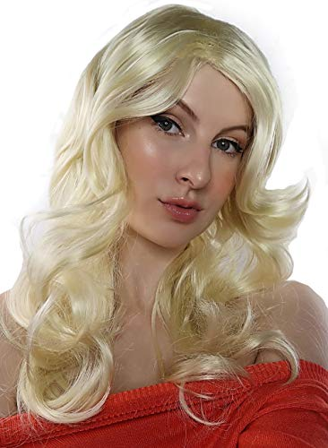 ALLAURA Womens Long Blonde Curly Wig with Bangs 70's Wigs Disco Costume Wig Feathered ()