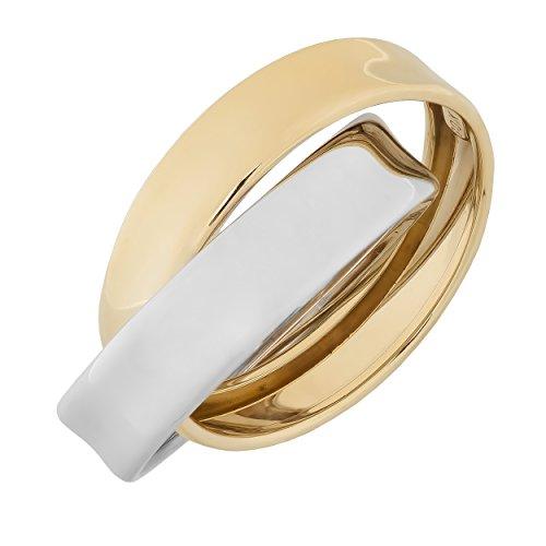 (Kooljewelry 10k Two-Tone Gold High Polish Rolling Ring (Size 8))