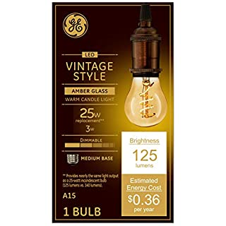 GE Lighting 36501 Dimmable LED Vintage Style 3 (25-Watt Replacement), 125-Lumen Light Bulb with Amber Glass A15, 1-Pack, Soft White