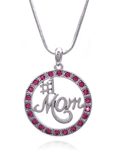 cocojewelry Number One MOM Circle of Love Pendant Necklace Mother's Day Gift (Hot Pink) ()