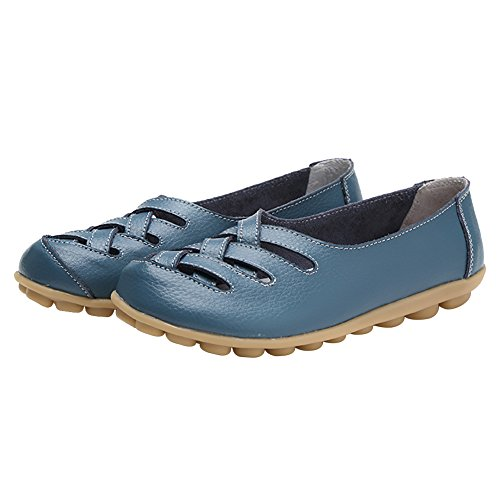 Verocara Femmes Tanner Cuir Grainé Appartements Bateau Chaussures Casual Chaussures Conduite Mocassins Bleu