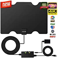 HD Digital Indoor TV Antenna [2019 Upgraded],Skylink TV Antenna 80 Miles Range -Support 4K 1080P & All Older TVs for Digital Amplified TV Antennas & Switch Console Signal Booster,USB Power Supply