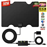 Amplified HD Digital TV Antenna,Skylink TV Antenna 80 Miles Range - Support 4K 1080P & All Older TV's for Indoor Digital Amplified TV Antennas & Switch Console Signal Booster,USB Power Supply