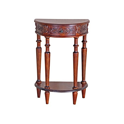 Amazon Com Pemberly Row Half Moon Wall Table In Dual Walnut Stain