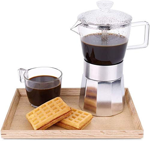GEESTA Premium Crystal Glass-Top Stovetop Espresso Moka Pot - 9 cup - Coffee Maker, 360ml/12.7oz/9 cup (espresso cup=40ml)