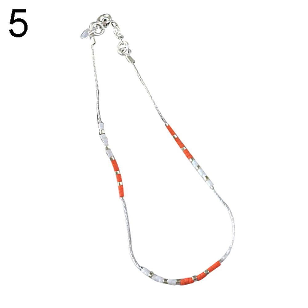 Women Bright Color Beaded Ankle Bracelet Barefoot Chain Sandal Jewelry Anklet