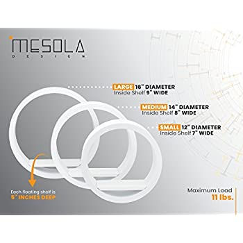 Mesola Design, Wood Floating Shelves Round Shape - Large Circle Hanging Wall Mount Shelf Set - Deep Shelves Perfect For Home Decor, Living Room, Bathroom, Bedroom, Kitchen, and more - Set of 3 (White)