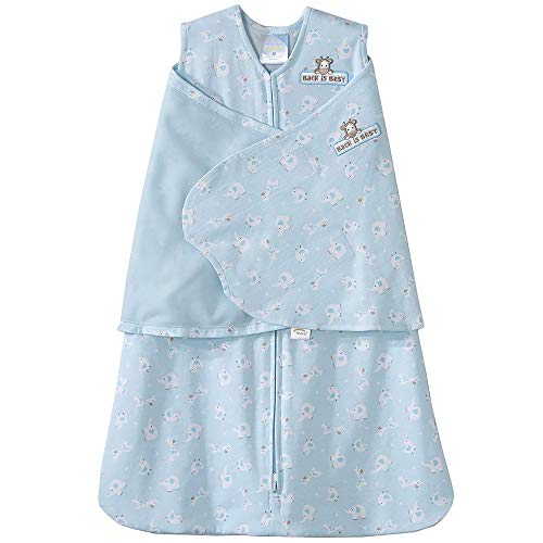 HALO 100% Cotton Sleepsack Swaddle, Turquoise Animal Friends, Small