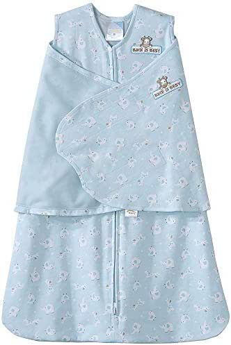 HALO 100% Cotton SleepSack Swaddle, Turquoise Animal Friends, Newborn