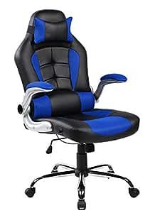 Merax High-back Ergonomic Pu Swivel Chair Computer Desk Lumbar Support Chair Napping Chair (Blue and Black)