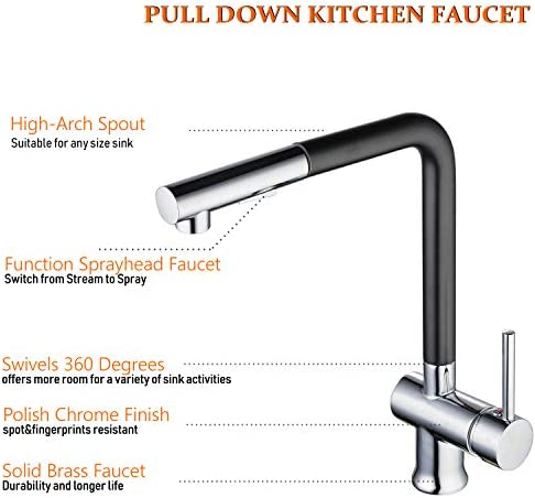 Pull Out Kitchen Faucet Black Painting,Hiendure Prep Bar Sink Kitchen Sink Faucet Single Handle Single Hole With Dual Function Sprayer