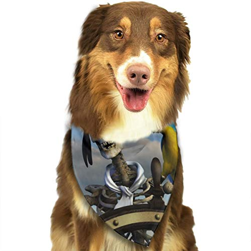YF150 Skeleton Drive Ship and Parrot Dog Bandana Triangle Bibs Scarf Printing Kerchief for Pets -