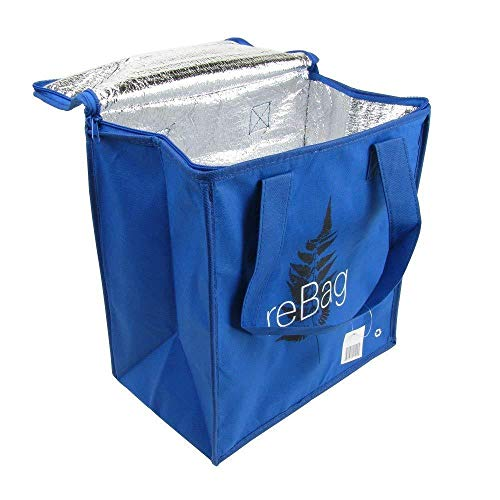 (2 pack - Reusable Thermal Grocery Shopping Bags Hot and Cold cooler bag Insulated grocery bag ReBag, 70g Blue Non-Woven PP Foil Lined Flat Bottom Full Handle great gift)