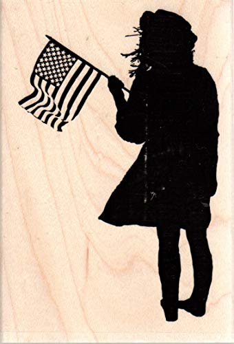Impression Obsession E13688 Flag Girl Silhouette Wood Mounted Rubber ()