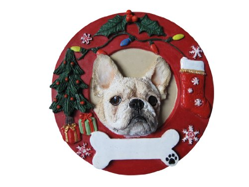 - French Bulldog Christmas Ornament White Wreath Shaped Easily Personalized Holiday Decoration Unique French Bulldog Lover Gifts