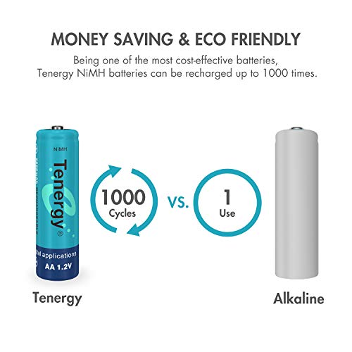 Tenergy AA Rechargeable Battery, High Capacity 2600mAh NiMH AA Battery,  1 2V Double A Batteries 60-Pack