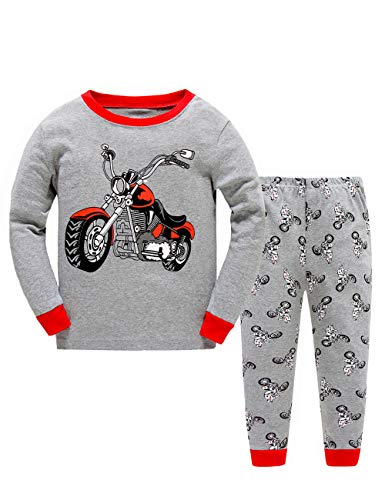 BABSUE Motorcycle Little Boys Long Sleeve Pajamas Sets 100% Cotton Pyjamas Toddler Kids Pjs Size 3T Grey