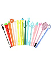 15 Pieces Cute Cartoon Gel Ink Pens Assorted Style Black Ink Writing Pens for Home Office School Party Girls Kids Boys Present, 15 Styles