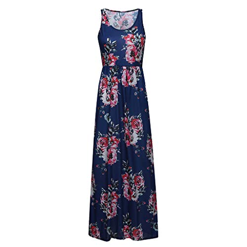 PENGYGY Ladies Sleeveless Dress Printed Bohemia Suspender Flower Cami Women Long Dress Sundress Navy]()
