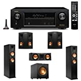 Denon AVR-X1100W 7.2 Channel Full 4K Ultra HD A/V Receiver with Bluetooth and Wi-Fi + 2 Klipsch RP-260F Reference Premiere 260 Floorstanding Speaker with Dual 6.5 inch Cerametallic Cone Woofers - + Klipsch R-12SW Powerful 12'' 400 watts Subwoofer + Klipsch