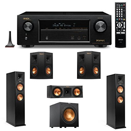 Denon AVR-X1100W 7.2 Channel Full 4K Ultra HD A/V Receiver with Bluetooth and Wi-Fi + 2 Klipsch RP-260F Reference Premiere 260 Floorstanding Speaker with Dual 6.5 inch Cerametallic Cone Woofers - + Klipsch R-12SW Powerful 12