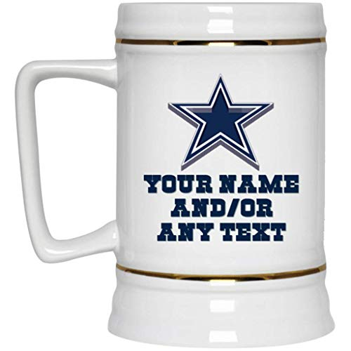 Custom Personalized Dallas Cowboys Beer Mug Dallas Cowboys 3D Logo Beer Stein 22 oz White Ceramic Beer Cup NFL NFC Perfect Gift for any Cowboys Fan ()