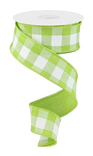Patty Pink Ribbon - Plaid Check Wired Edge Ribbon - 10 Yards (Lime Green, White, 1.5